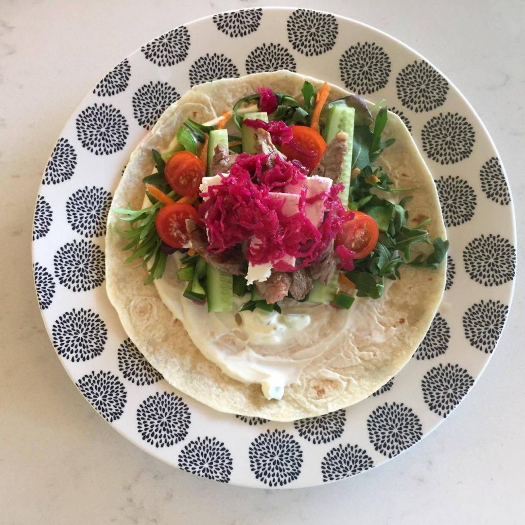Lamb Salad Wraps with Tzatziki